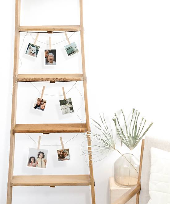 Wooden Ladder Photo Wall