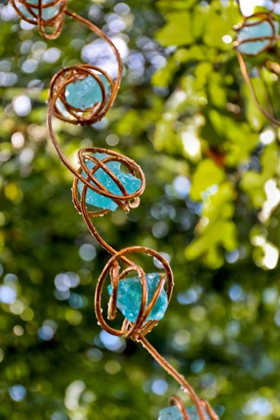 Glass and Copper Wire Rain Chain