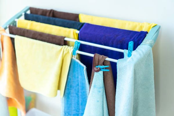 drying clothes on rack