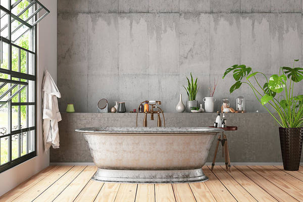 bathtub with art plants