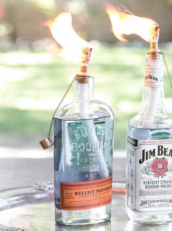 DIY Whisky Bottle Tiki Torches