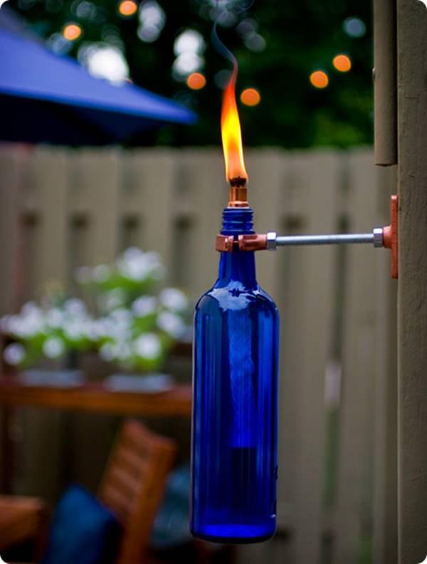 Mounted Wine Bottle Tiki Torch